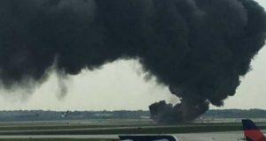 امریکی ایئر لائن کے طیارے میں آگ لگنے سے 8 افراد زخمی