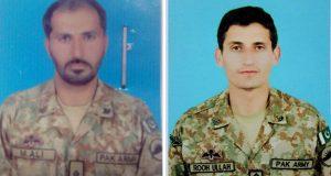 کیپٹن روح اللہ شہید اور زخمی ہونیوالے صوبیدارمحمدعلی کو تمغہ جرات  و رسالت