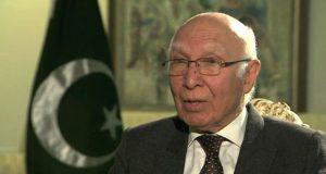 پاکستان خطے میں امن کاخواہاں ہے، سرتاج عزیز