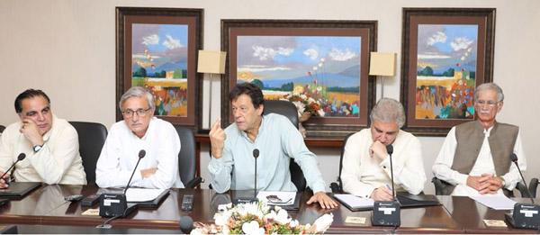 اسلام آباد:۔ پاکستان تحریک انصاف کے سربراہ عمران خان کور گروپ اجلاس کی صدارت کررہے ہیں، پرویز خٹک، شاہ محمود قریشی ، جہانگیر ترین اور عمران اسماعیل بھی موجود ہیں