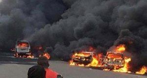 نائجیریا میں آئل ٹینکر میں آگ لگنے سے 9 افراد ہلاک، درجنوں گاڑیاں خاکستر