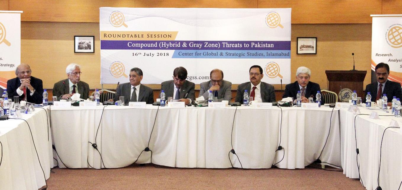 اسلام آباد:۔ سی جی ایس ایس کے زیر اہتمام راﺅنڈ ٹیبل کانفرنس کے مقررین ڈاکٹر اشفاق حسن خان ، غلام اکبر، اشفاق گوندل، جنرل ظہیر الاسلام، لیفٹیننٹ جنرل نعیم خالد لودھی و دیگر