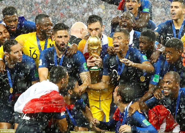ماسکو:۔خوشی سے نہال فرانس کے کھلاڑیوں کا فٹ بال ورلڈ کپ فائنل جیتنے کے بعد ٹرافی کے ہمراہ گروپ فوٹو