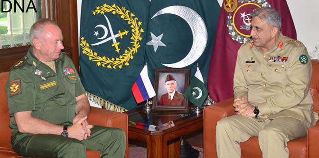راولپنڈی:۔ آرمی چیف جنرل قمر جاوید باجوہ سے روسی نائب وزیر دفاع کرنل جنرل الیگزینڈر فومن ملاقات کر رہے ہیں
