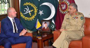 آرمی چیف ۔ بوسنین سفیر ملاقات خطے کی سیکیورٹی صورتحال پر تبادلہ خیالات