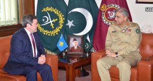 آرمی چیف ۔قزاقستان سفیر ملاقات دفاعی شعبوں میں باہمی تعاون کے فروغ پر تبادلہ خیالات