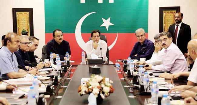 اسلام آباد:۔ وزیر اعظم عمران خان کی زیر صدارت پار ٹی کی سینئر قیادت کے اجلاس کا ایک منظر
