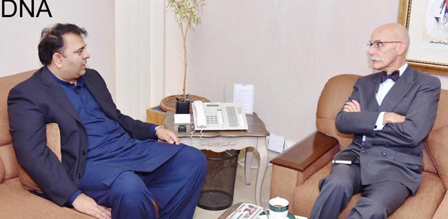 ISLAMABAD, NOV 12:  Jean François Cautain, Ambassador of European Union called on Chaudhry Fawad Hussain, Federal Minister for Information and Broadcasting.=DNA PHOTO