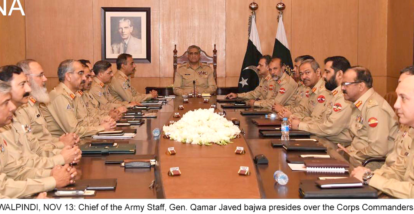 RAWALPINDI, NOV 13: Chief of the Army Staff, Gen. Qamar Javed bajwa presides over the Corps Commanders Conference, on Tuesday.=DNA PHOTO