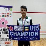 پاکستان کے حزیفہ ابراہیم نے تیسری بار جاپان جونیئر اسکواش چیمپیئن شپ جیت لی